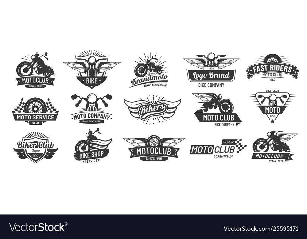 Motorcycle badges bikers club emblems motorbike