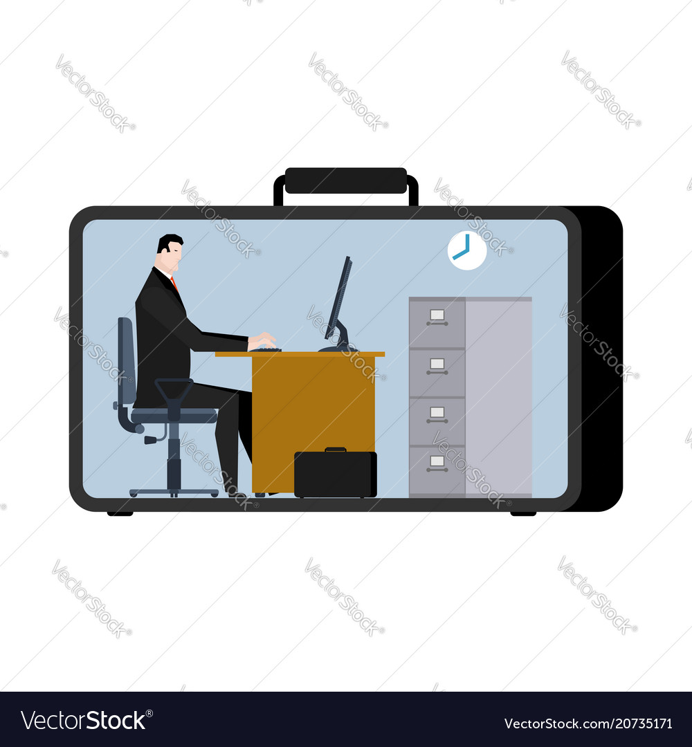 Office in case mobile workplace in suitcase