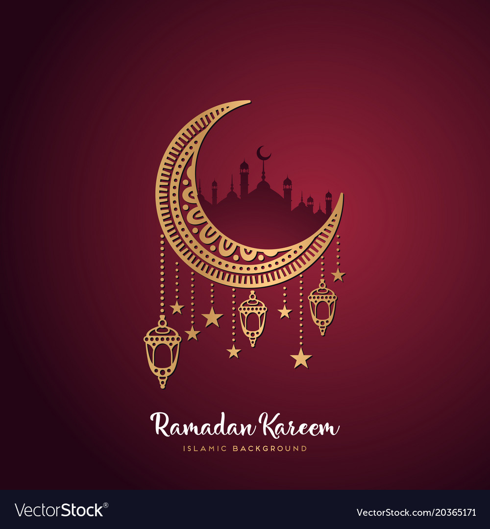 Ramadan Kareem Greeting Card Design With Mandala Vector Image