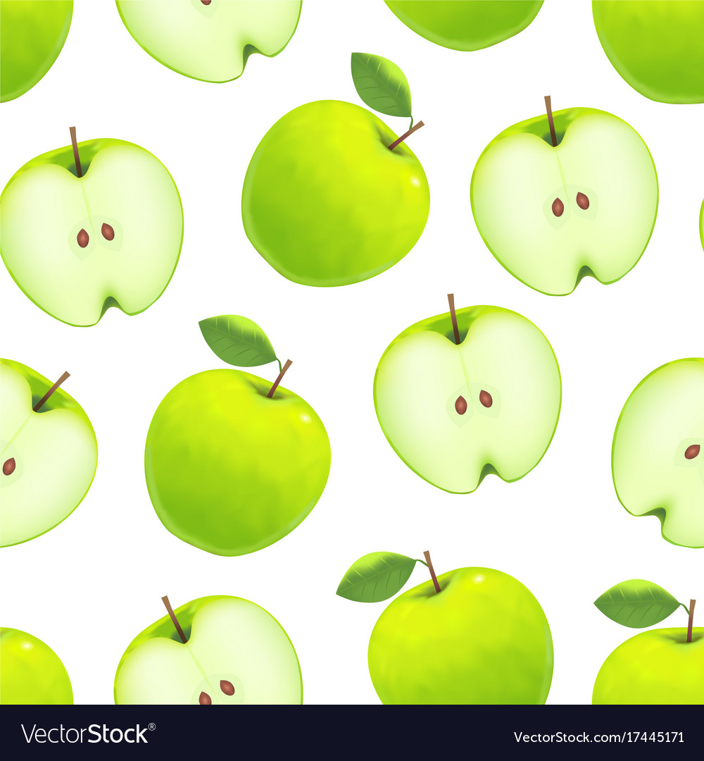 Realistic green apple background pattern on a