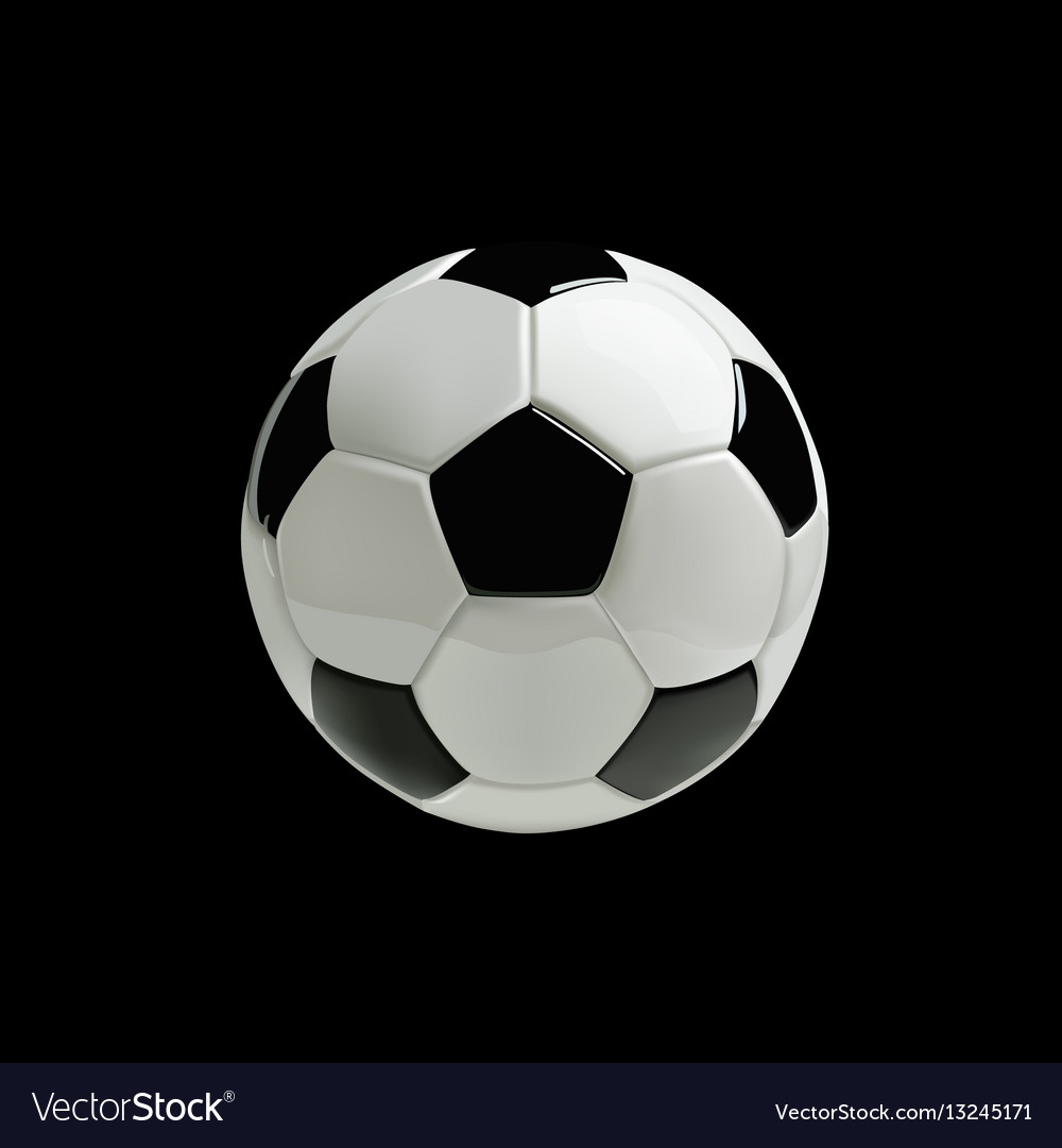 Realistic soccer ball on black background vector image