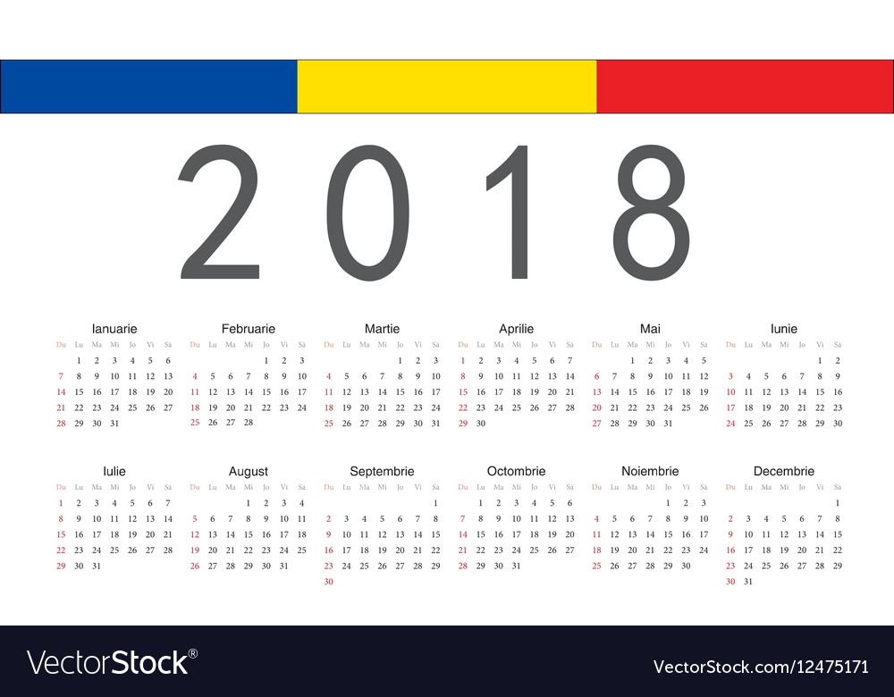 Romanian 2018 year calendar vector image