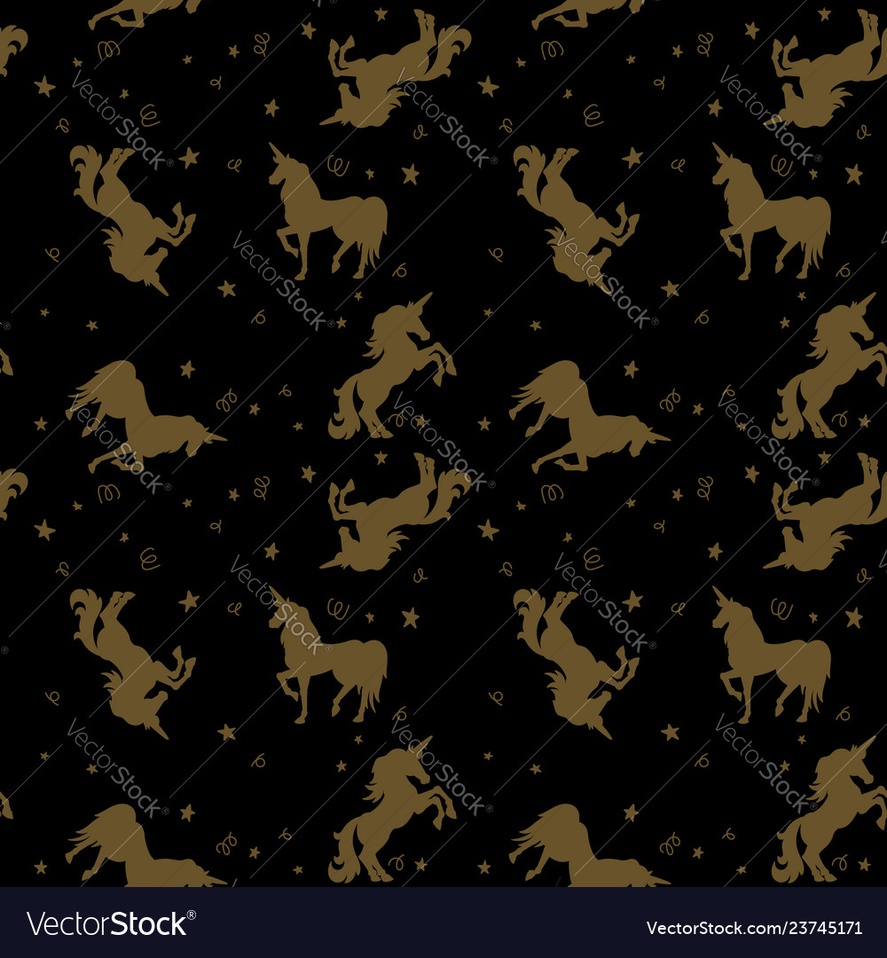 Seamless pattern with unicorns and stars in