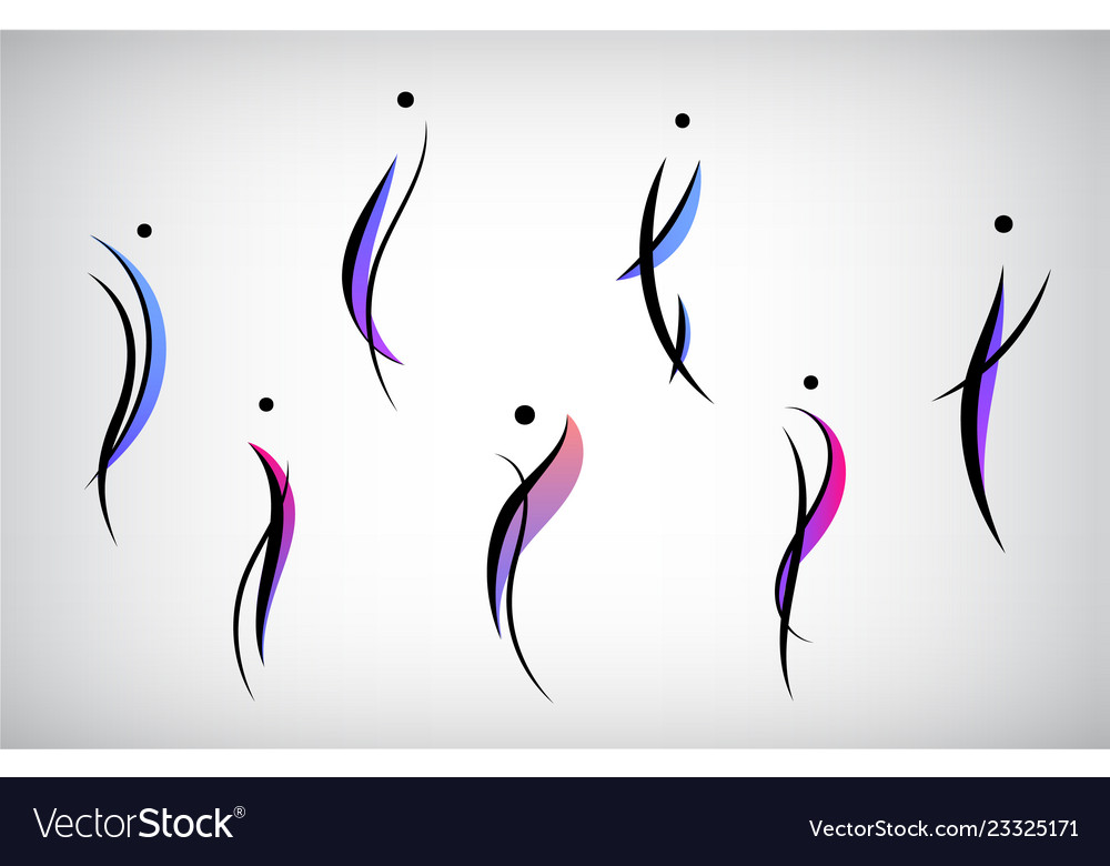 Set of abstract human men silhouettes
