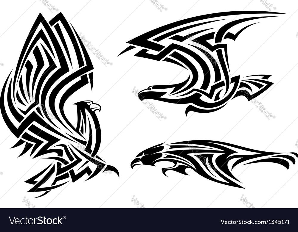 Tribal eagle hawk and falcon vector image