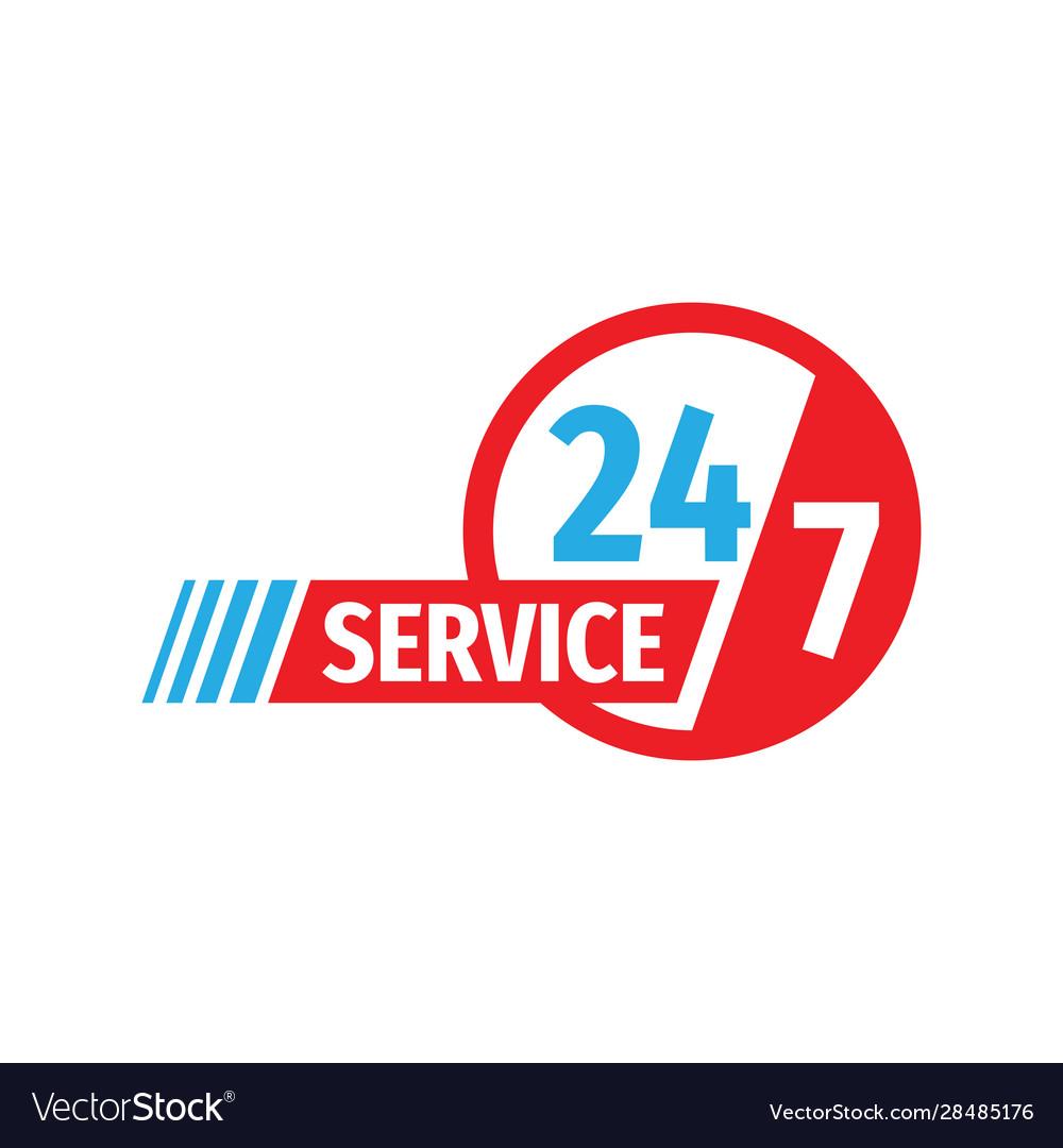 24-7 service - concept badge design banner