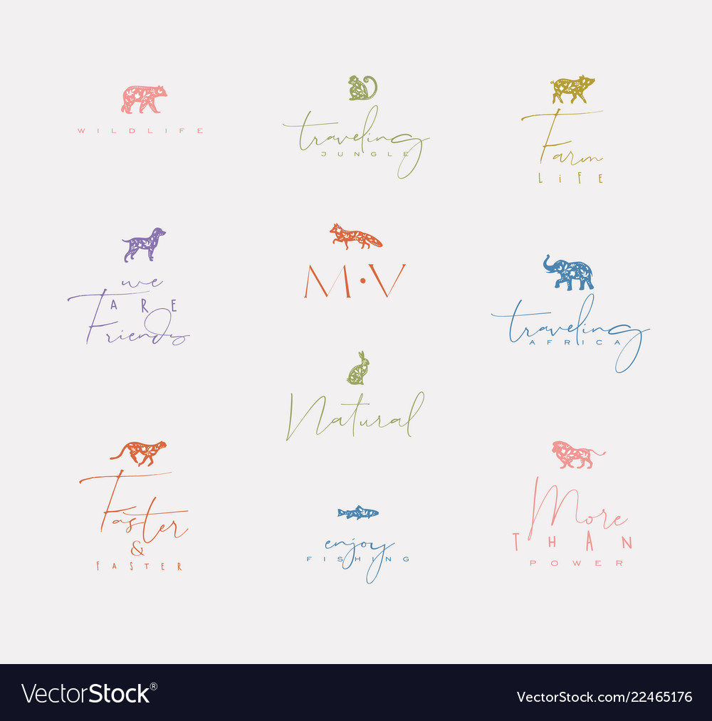 Animals mini floral graphic signs color