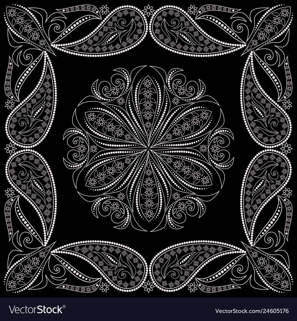Bandana paisley design- print square