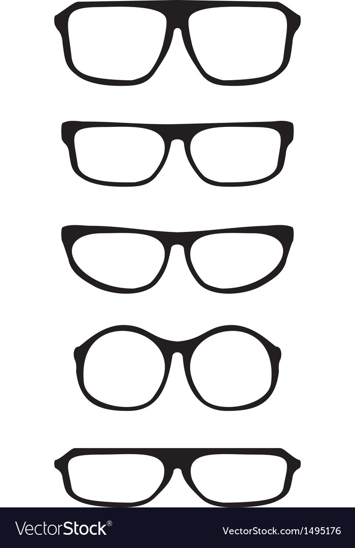 8cd283db9ff Black hipster glasses set with thick holder Vector Image