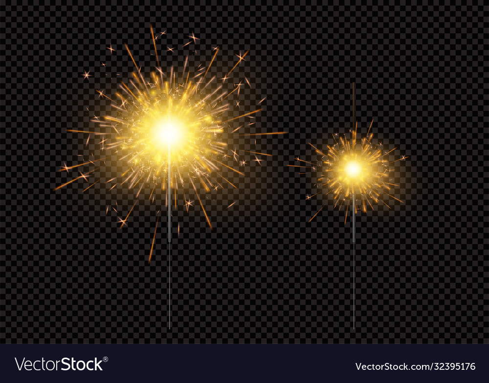 Bright shiny sparkling bengal light fireworks vector