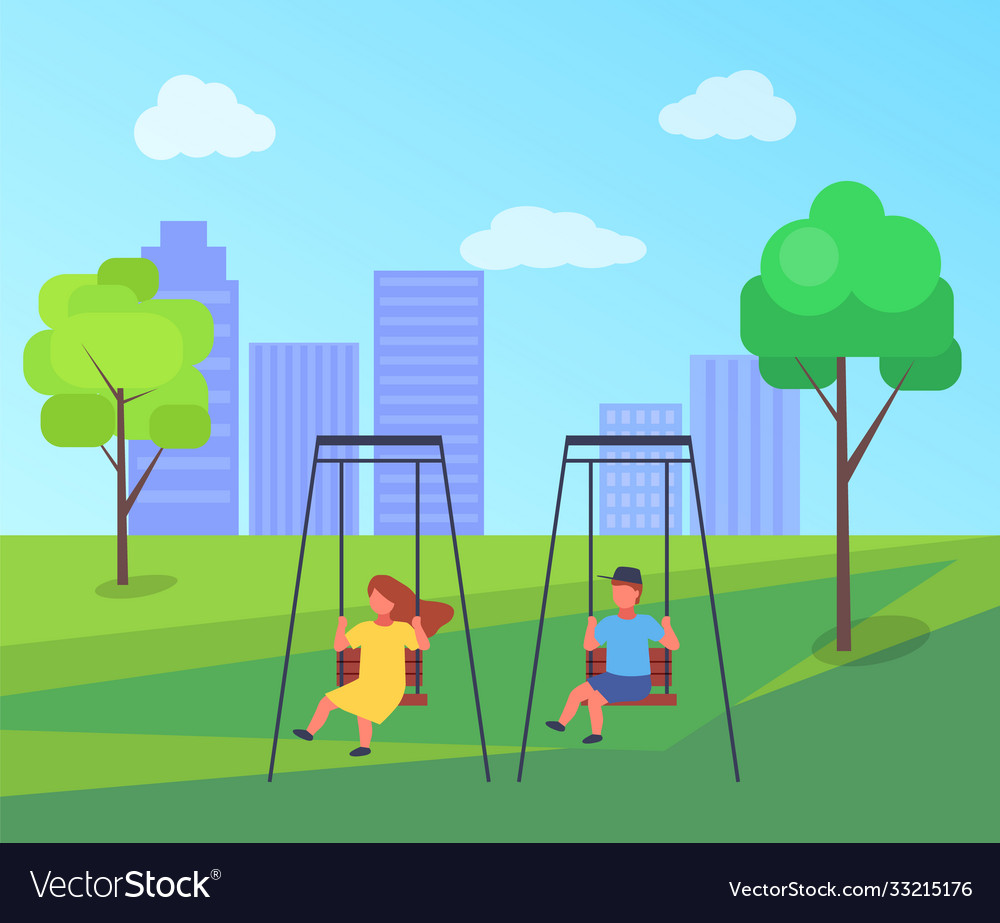 Colorful playground with a swing and kids