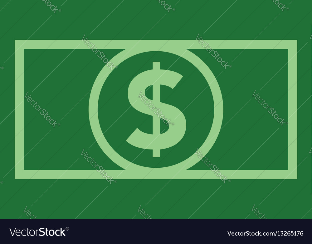 Dollar Bill Icon Flat Color Vector Image