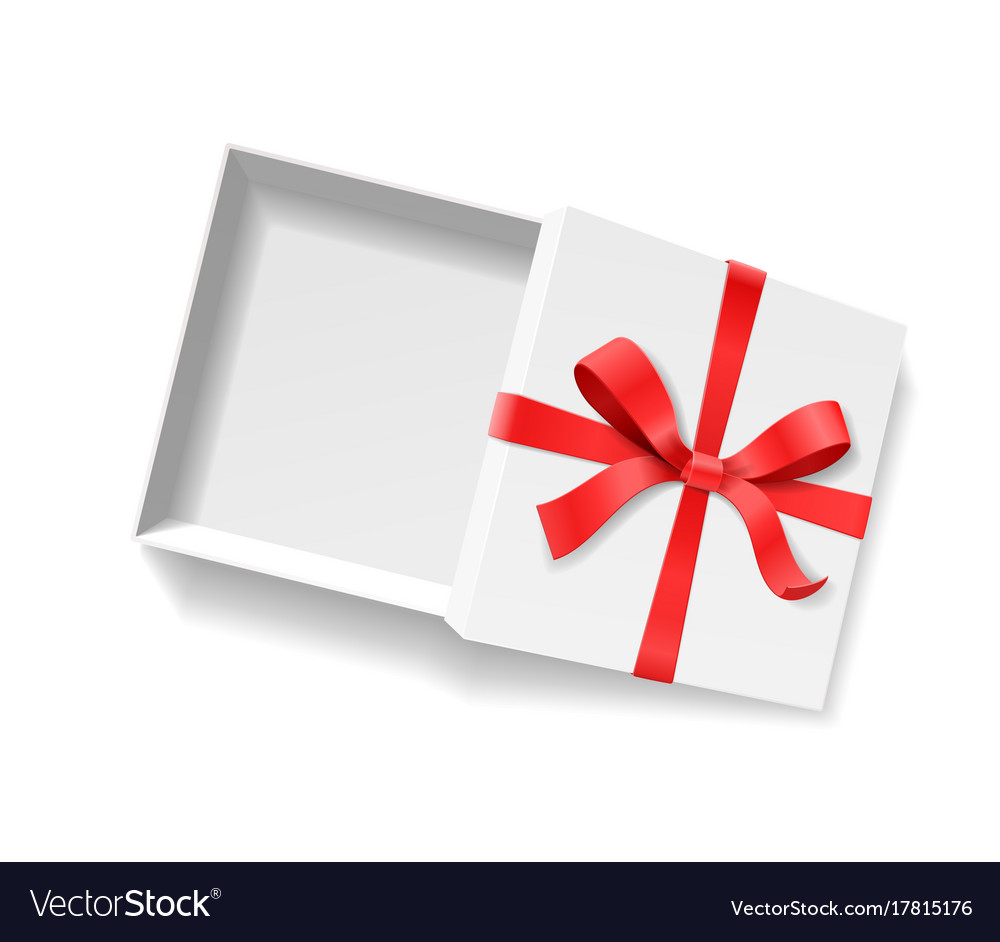 Empty open gift box with red color bow knot and vector image negle Gallery