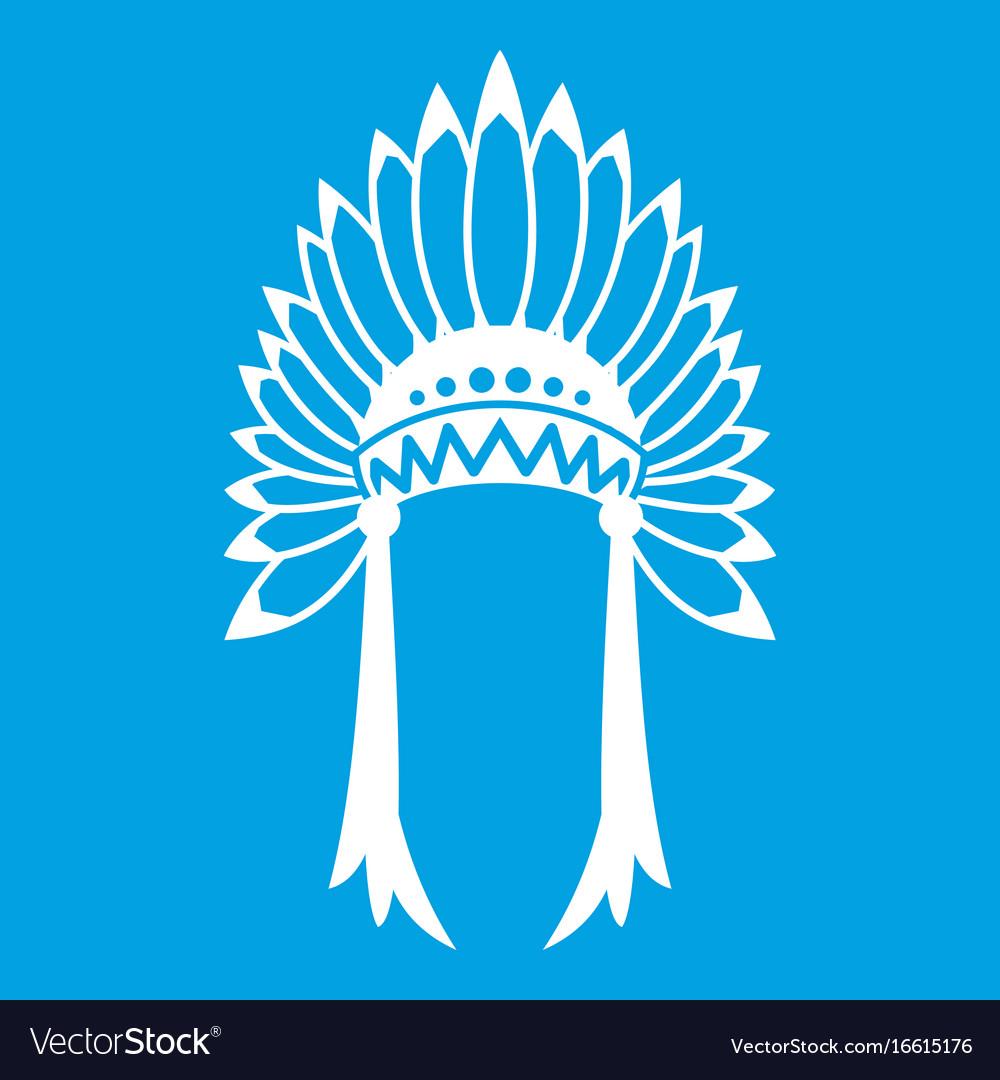 Indian headdress icon white