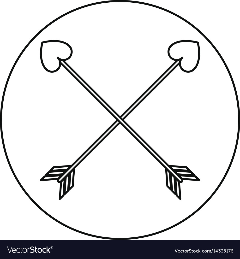 Love crossed arrow element decoration line