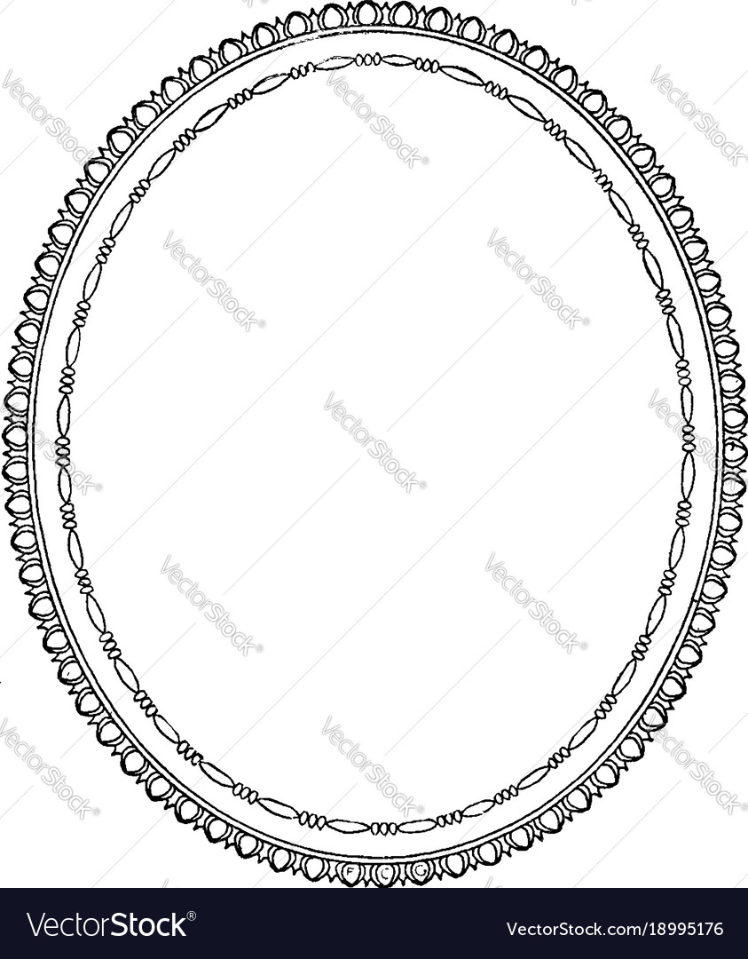Oval frame is a simple design vintage engraving