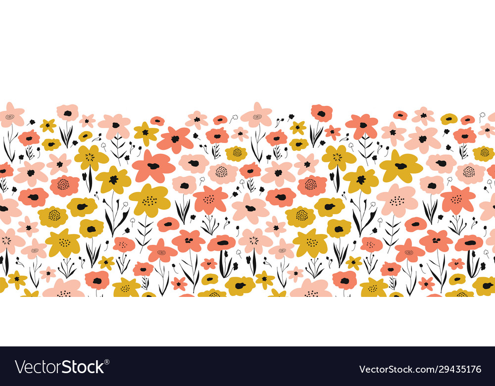 Spring flower meadow seamless border pink