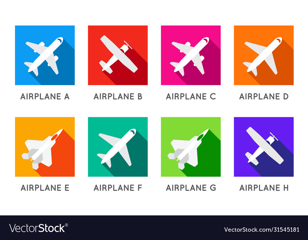 Aircraft or airplane flat minimal square icons