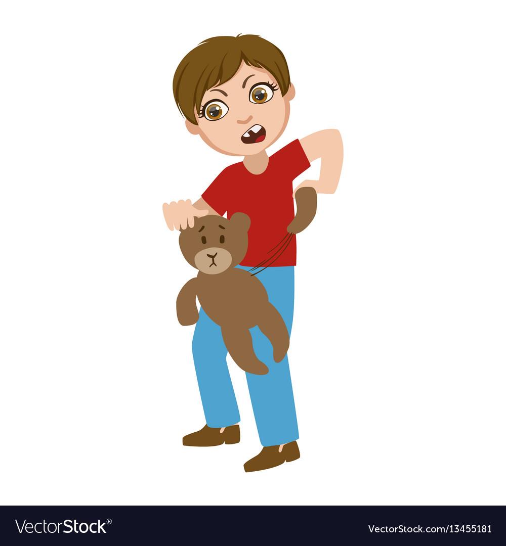 Boy ripping apart teddy bear part of bad kids vector image