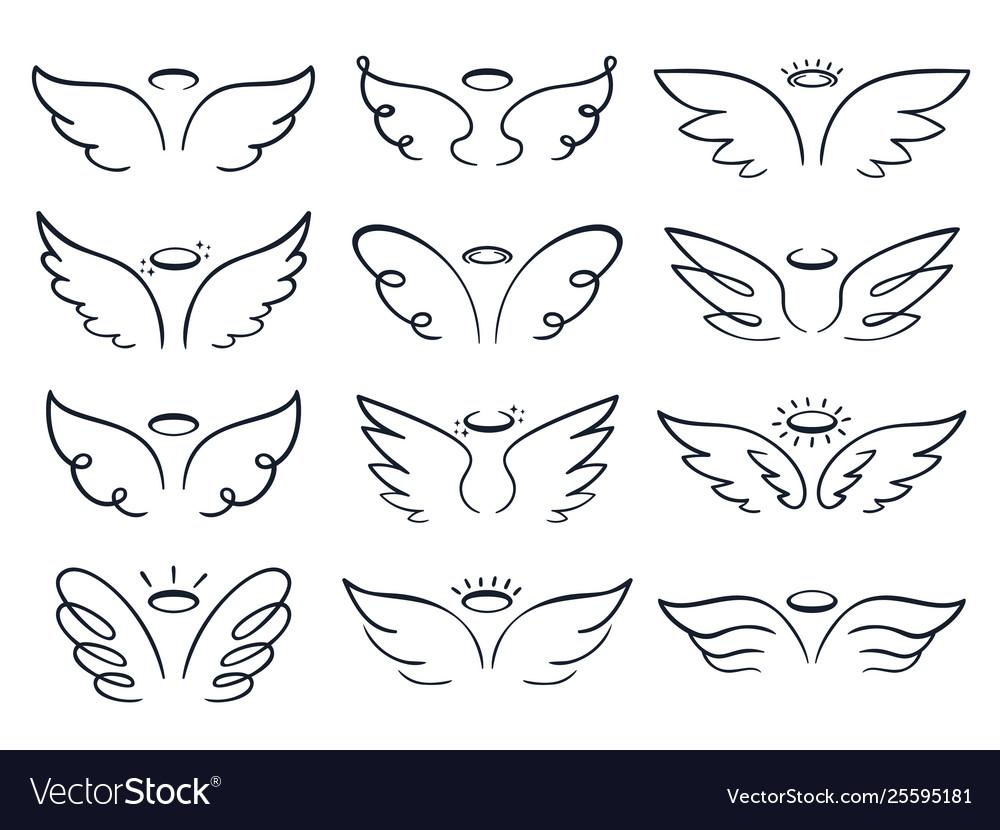 Cartoon sketch wing hand drawn angels wings