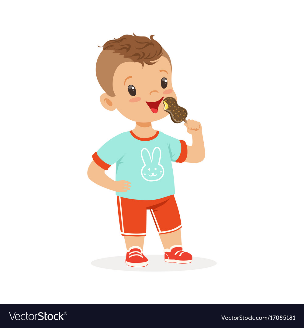 Cute Little Boy Character Eating Ice Cream Cartoon