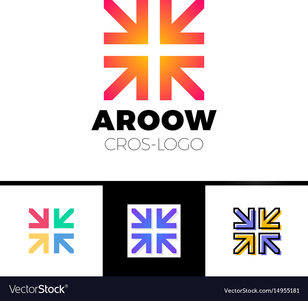 Four arrows logo form cross or plus graphic