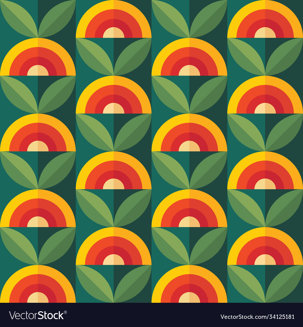 Fruits and leaves nature background mid-century