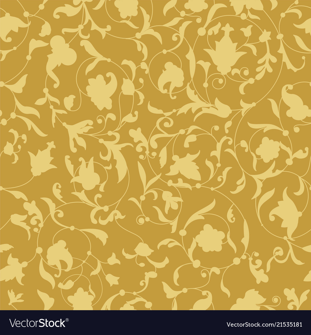 Golden endless background with floral