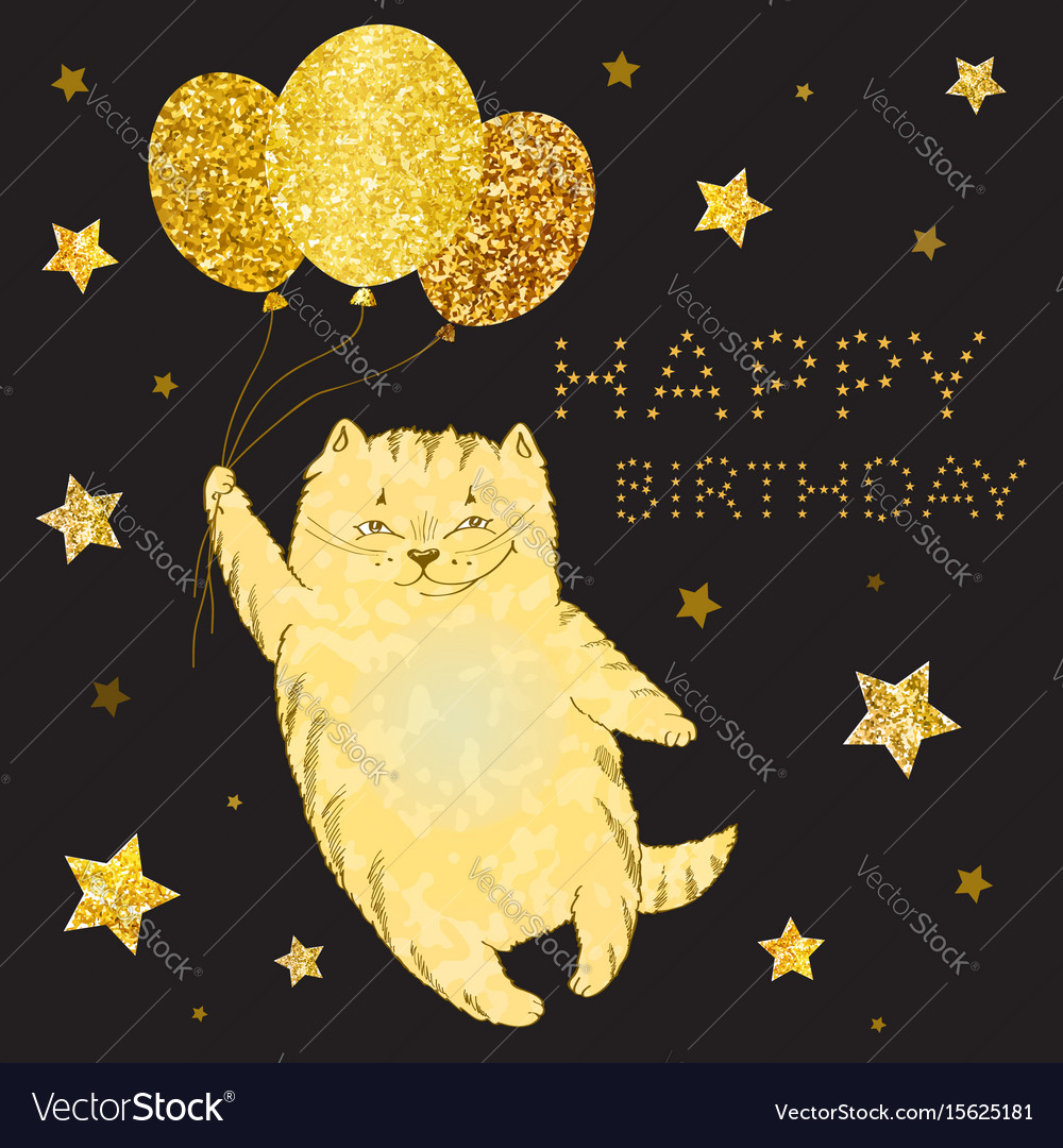 Greeting card with golden cat with balloons and go vector image