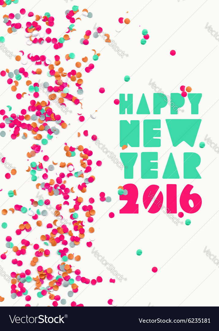 Happy new year 2016 confetti party holiday poster