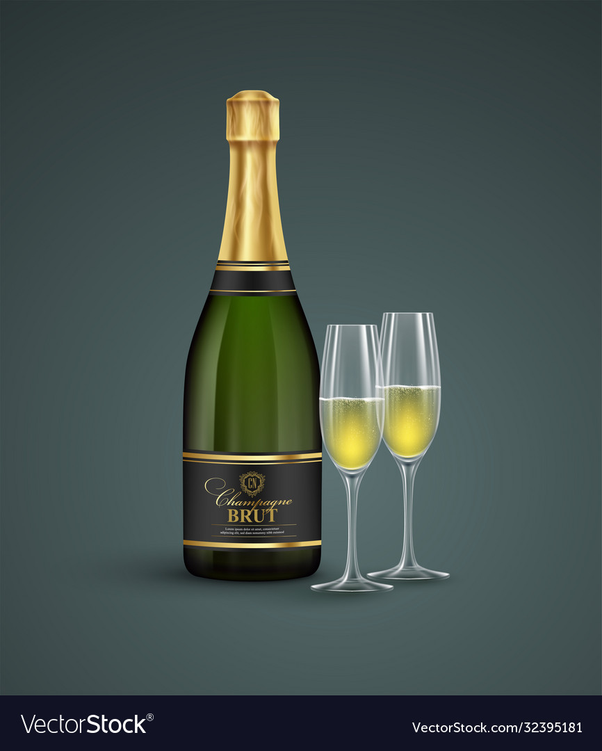 Realistic bottle and glasses champagne isolated