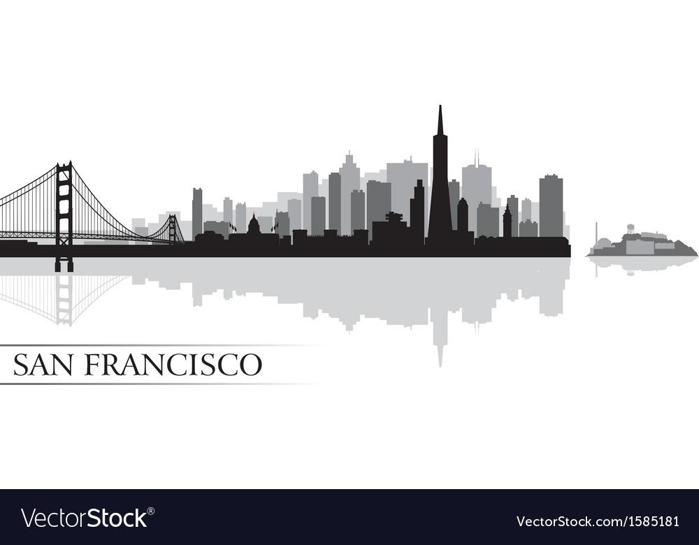 san francisco city skyline silhouette background vector image rh vectorstock com san francisco skyline silhouette vector free san francisco skyline vector free download