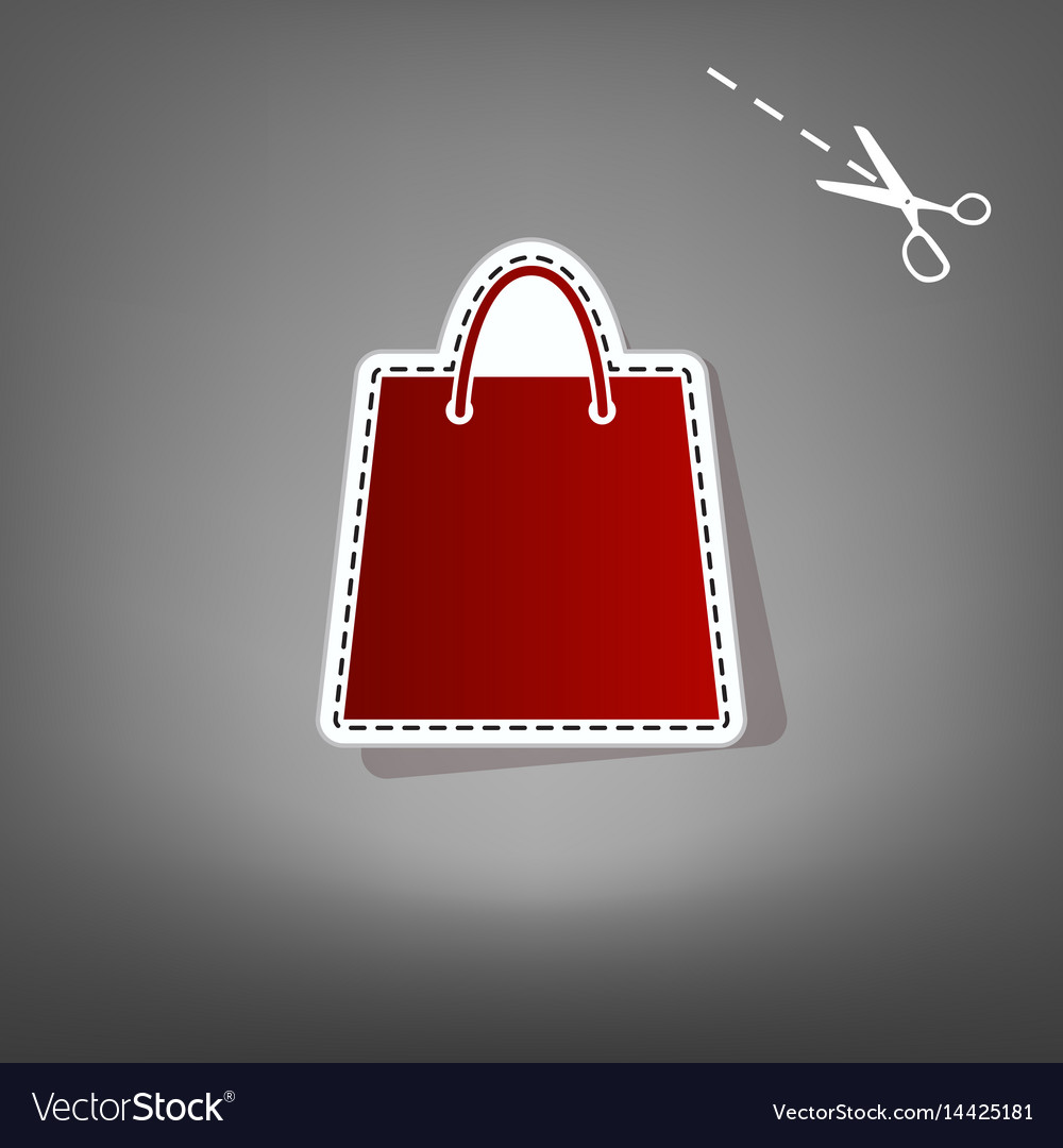 Shopping bag red icon with
