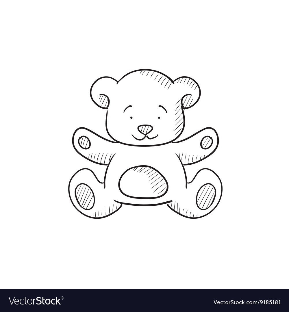 Teddy bear sketch icon