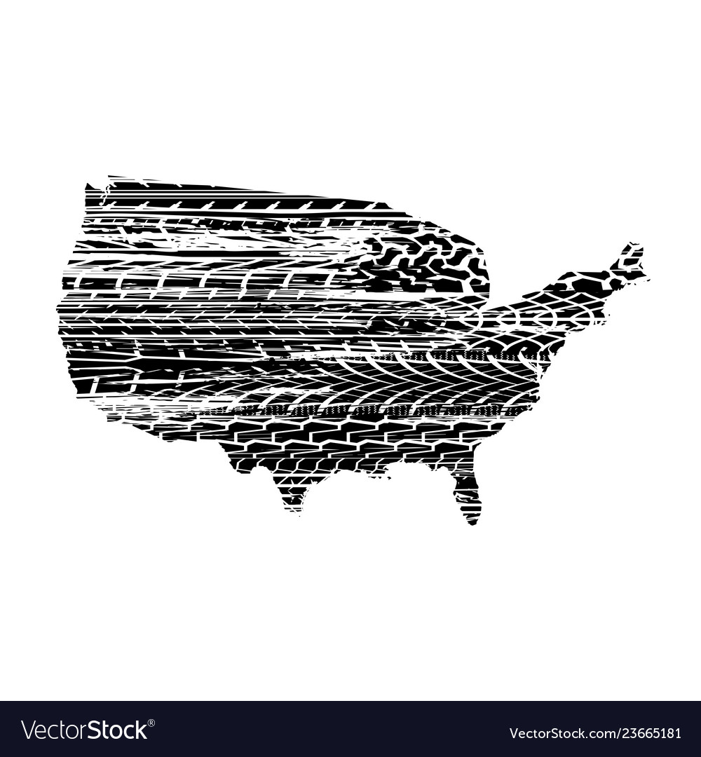 Usa map tire tracks