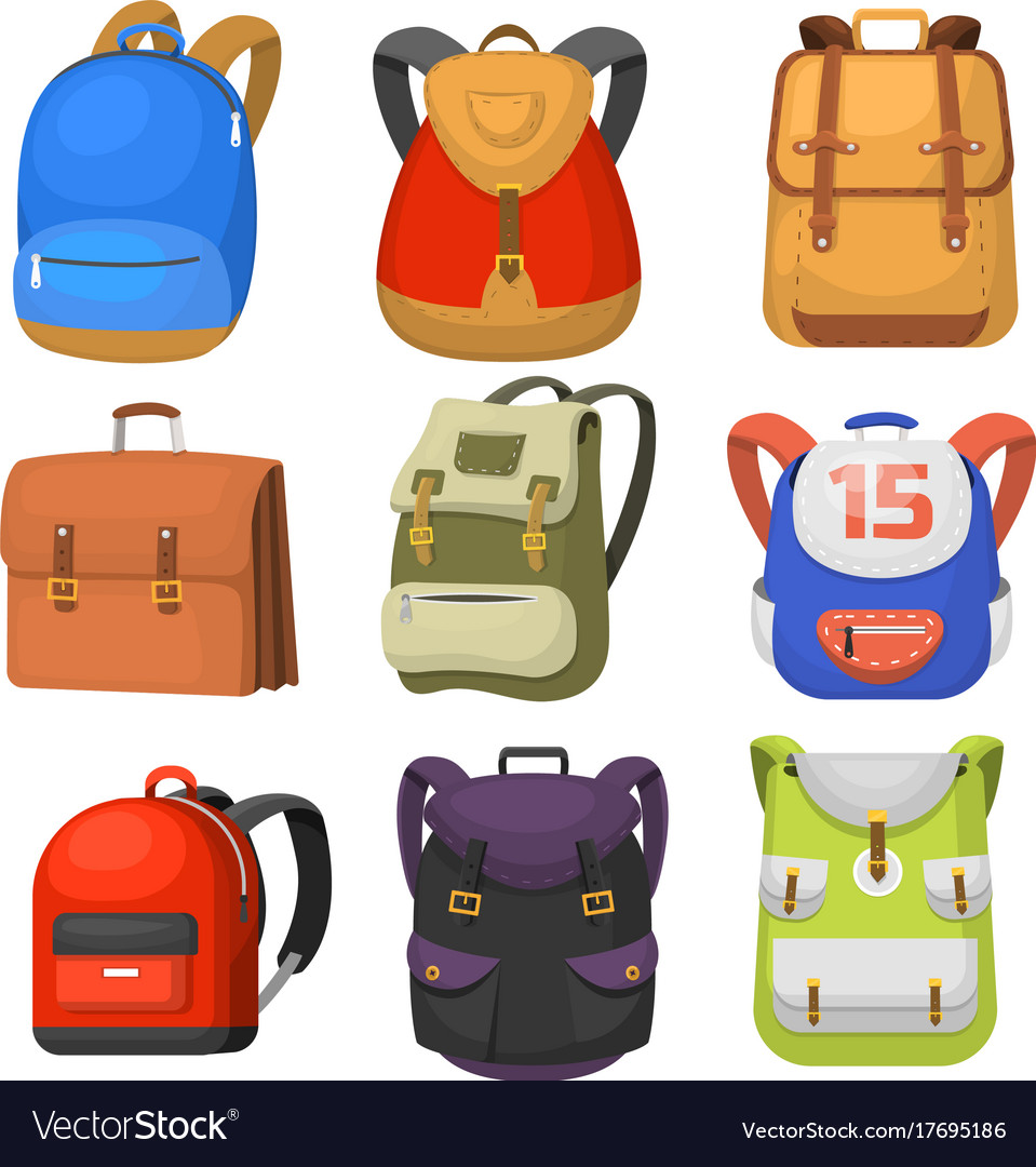 11be4d2f3be4 Back to school kids school backpack Royalty Free Vector