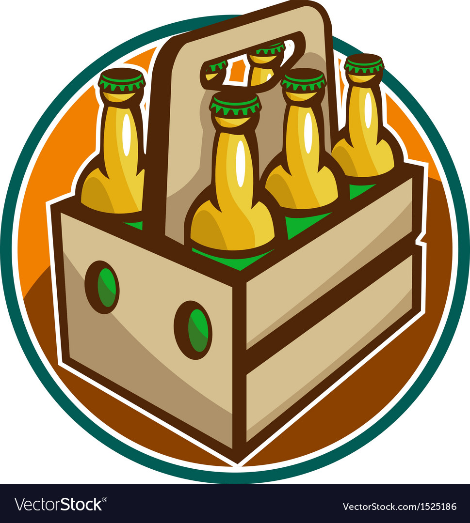 Beer Bottle 6 Pack Retro vector image