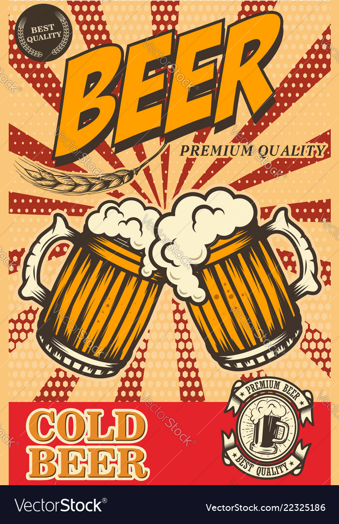 Beer poster in retro style beer objects on grunge
