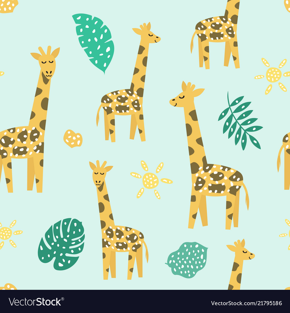 Childish seamless pattern with cute giraffe