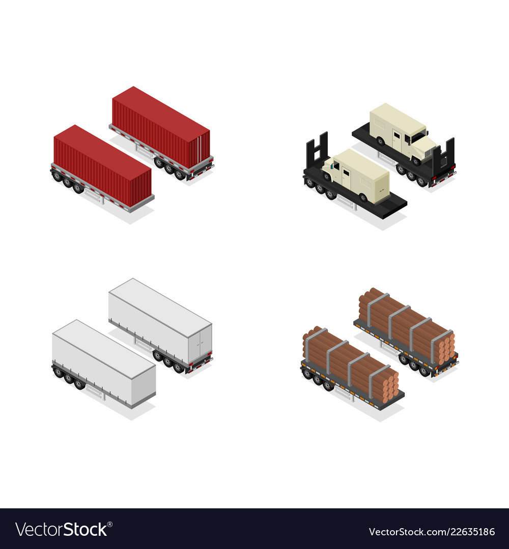 Different types trailers 3d icons set isometric