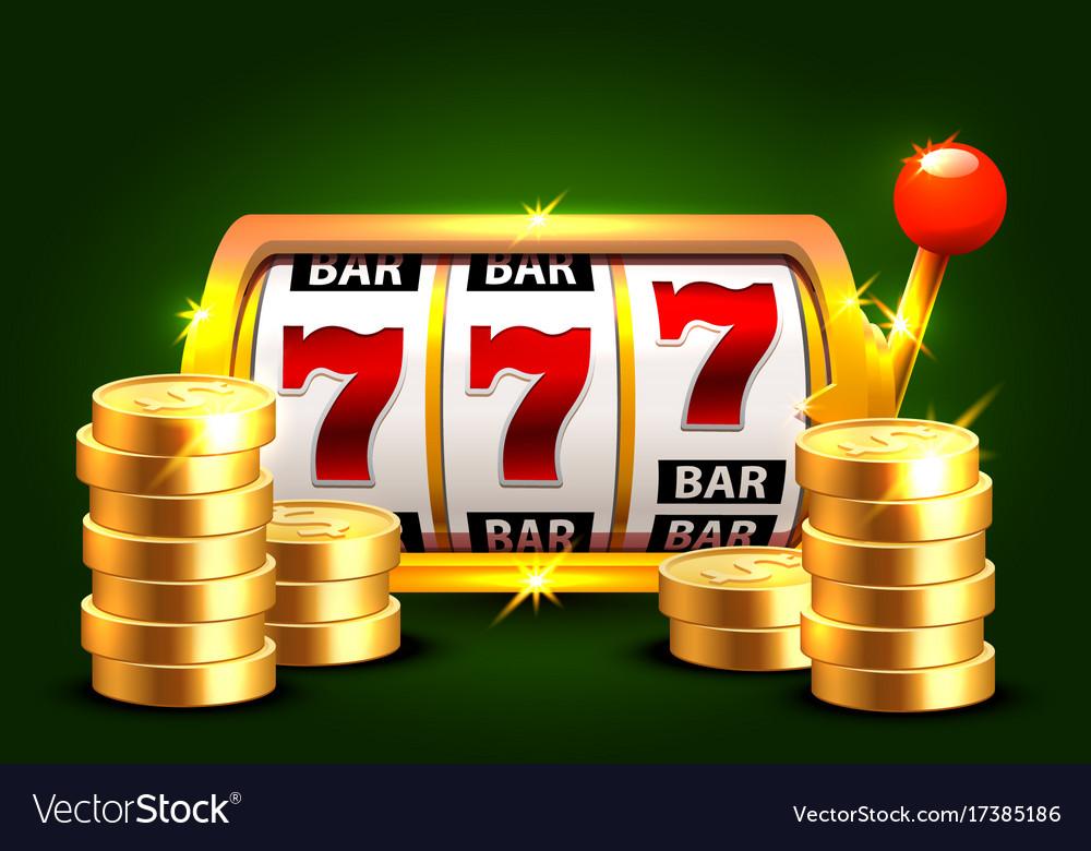 Golden slot machine wins the jackpot