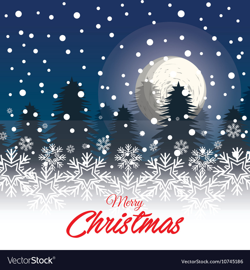 Greeting christmas with landscape snowfall graphic vector image