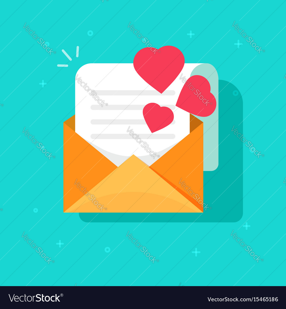 Love confession mail or email icon flat