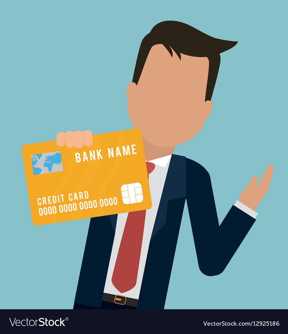 Man business bank card hold Royalty Free Vector Image