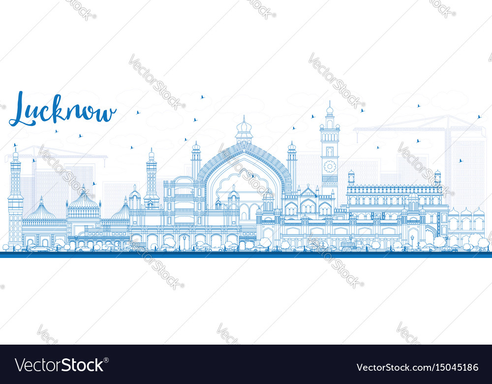 Outline lucknow skyline with blue buildings