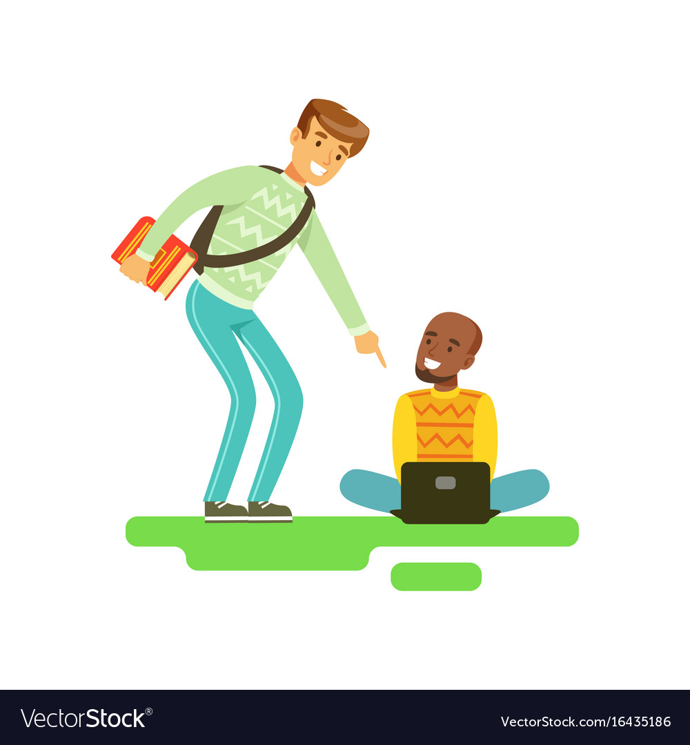 Two young smiling male students speaking friends vector image