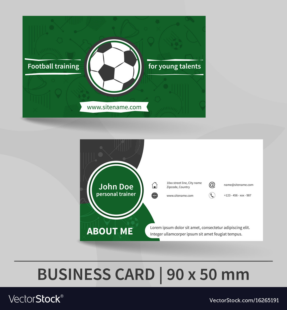 Business card template football training personal vector image accmission Image collections