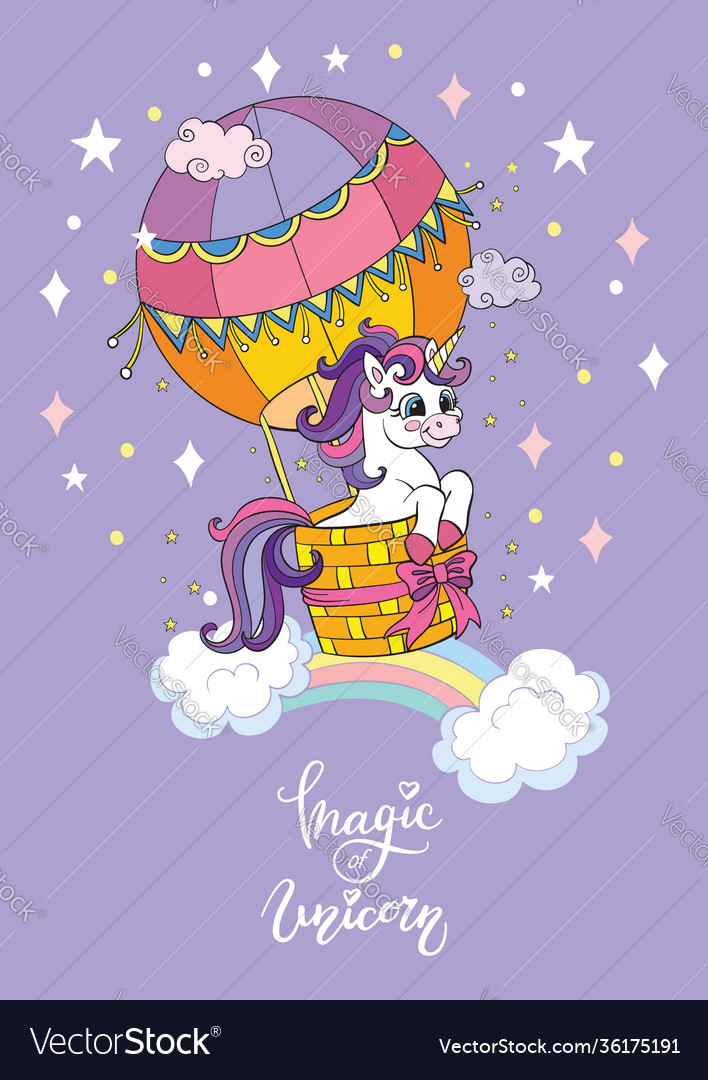Cartoon unicorn hot air