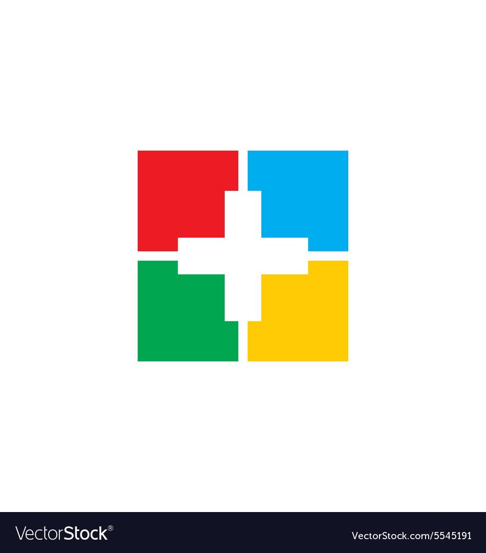 Cross medic colorful sign logo