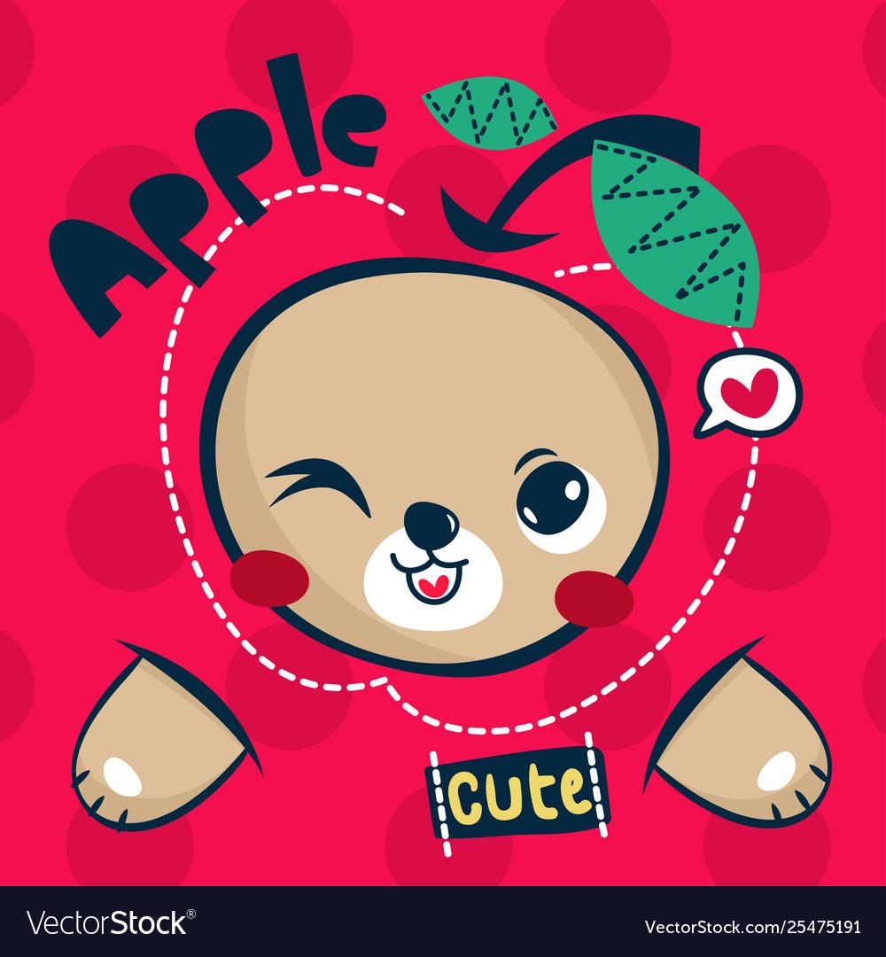 Cute teddy bear cartoon with big apple